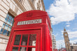 Telephone booth near the British Parliament in London