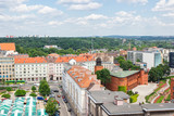 Poznan, Poland - June 28, 2016: View on old or modern buildings and street in town Poznan
