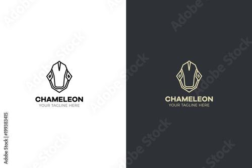 Fototapeta Stylized geometric Chameleon head illustration. Vector icon tribal lizard design