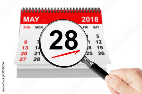 Poster Memorial Day Concept. 28 may 2018 calendar with magnifier