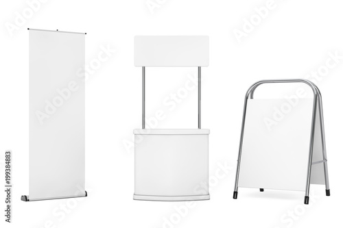 Blank Promotion Exhibition Advertising Stands. 3d Rendering