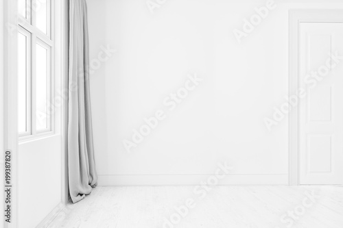 Blank clean interior room background empty white walls corner and white wood floor contemporary,3D rendering