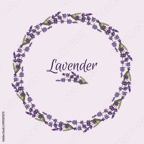 Beautiful lavender flowers wreath. - 199387879