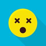 Dead emoticon icon, flat style - 199396071