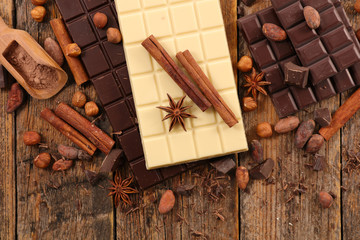 chocolate bar, coffee bean and spice