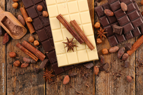 chocolate bar, coffee bean and spice - 199397402