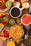 cornflakes, coffee and fruit