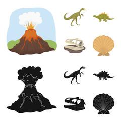 Volcanic eruption, gallimimus, stegosaurus,dinosaur skull. Dinosaur and prehistoric period set collection icons in cartoon,black style vector symbol stock illustration web.