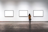 interior of gallery with blank frame - 199398856