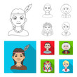 Chinese, ukrainian, russian, eskimo. Human race set collection icons in outline,flat style vector symbol stock illustration web.