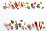 Various fresh vegetables and herbs on white background.Ingredients for cooking concept sweet basil ,tomato ,garlic ,pepper and onion with flat lay.. - 199400825