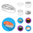Bowl of soup, caviar, shrimp with rice. Sushi set collection icons in outline,flat style vector symbol stock illustration web.