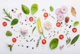 Various fresh herbs for cooking ingrediens peppermint , sweet basil ,rosemary,oregano, sage ,chilli bay leaves and lemon thyme on white wooden background with flat lay . - 199401808