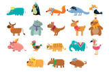 Cute animals big set in bright colors childish vector illustration - 199403632