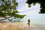 Yoga on tropical thai beach