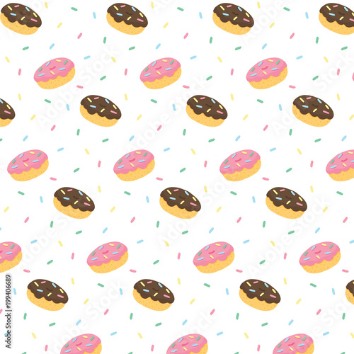 hand-drawn-vector-illustration-of-donut-chocolate-frosting-and-pink-icing-with-colorful-sweaty-sprinkles-pattern