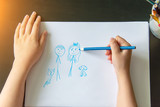 child's hand draw a pencil - 199407856