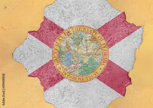 Fotobehang Betonbehang Flag of US state Florida in big broken material concrete hole facade structure