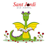 Sant Jordi. Dragon reading a book surrounded by roses. Traditional festival of Catalonia. Spain - 199411435