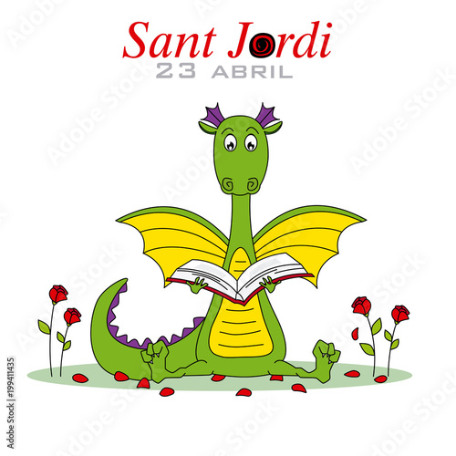 Sant Jordi. Dragon reading a book surrounded by roses. Traditional festival of Catalonia. Spain