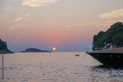 Fotobehang Zee zonsondergang Adriatic Coast, Croatia.