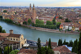 Verona, Italy - Panoramic view of the Verona historical city center and Adige river - 199414475