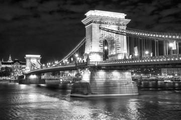 Scenic night view of Chain Bridge in Budapest, Hungary