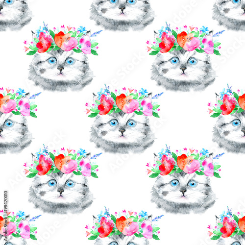 Seamless pattern of a gray kitten and floral wreath.Cat greeting card.Watercolor hand drawn illustration.White background. - 199420010