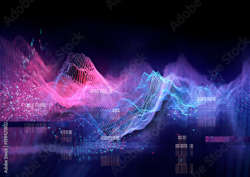 Abstract Visualisation of data and technology in graph form. 3D Illustration