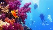 Beautiful colorful coral reef and divers on the background