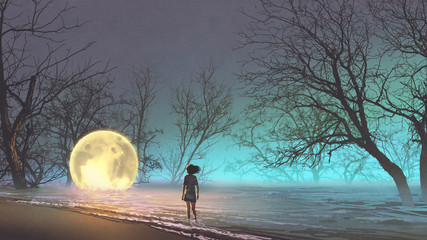 night scenery of young woman looking at the fallen moon on the lake, digital art style, illustration painting © grandfailure
