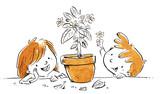 niños con maceta y flores