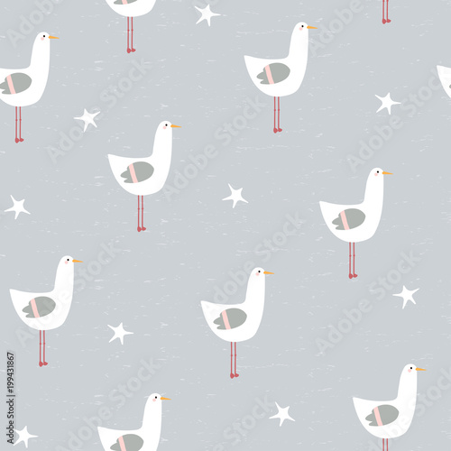Cotton fabric Funny seagull and starfish seamless pattern. Vector hand drawn illustration.
