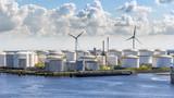 Oil storage silo tanks in a  port terminal