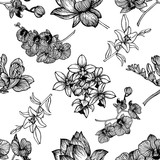 Seamless pattern of hand drawn sketch style exotic flowers isolated on white background. Vector illustration.
