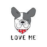 Vector illustration design sign logo of head french bulldog and wording love me with beauty red scarf for pet shop Draw doodle style