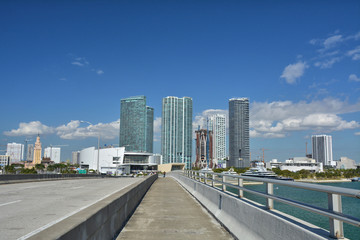 View on Freedom tower and skyscrapers in Miami