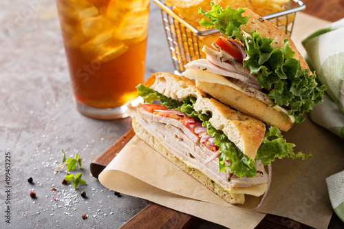 Turkey sandwich with cheese and herb mayonnaise