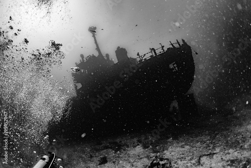 Aluminium Schipbreuk Ship Wreck in maldives indian ocean