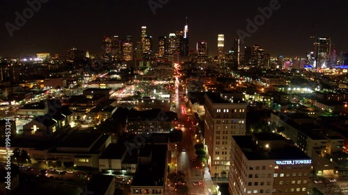 Downtown Los Angeles Flyover at Night by Aerial Drone