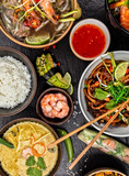 Asian food variation with many kinds of meals. Top view - 199458834