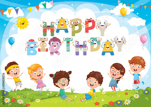 Vector Illustration Of Kids Birthday Party