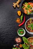 Asian food variation with many kinds of meals. - 199459083