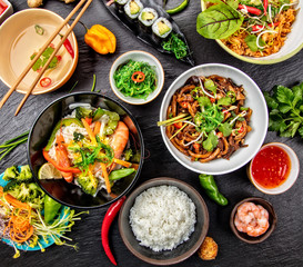 Asian food variation with many kinds of meals. Top view © Jag_cz