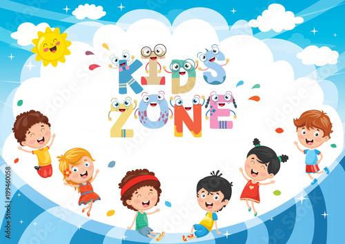 Vector Illustration Of Kids Zone Background Design - 199460058