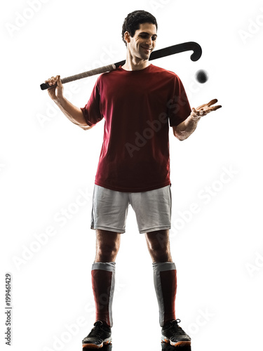 Foto Murales one caucasian field hockey player man isolated silhouette on white background