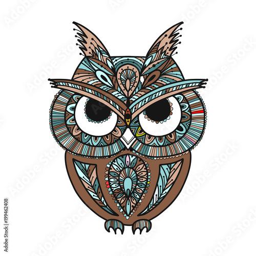 Ornate owl, zenart for your design