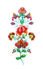 Eastern european floral decor - folk art flowers. Watercolor drawing