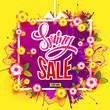 Hand drawn splash and paper flowers in Spring Sale banner. For banners, posters, flyers, cards, invitations. Vector illustration. Detailed design with season symbols. All objects are separated