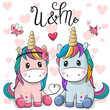 Two Cute Unicorns on a hearts background